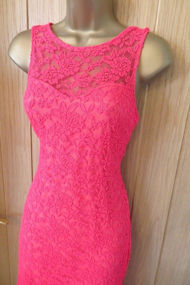 Women's JANE NORMAN Bright neon pink lace bodycon DRESS UK 14 ( US 10 ) #JaneNorman #StretchBodycon #Party