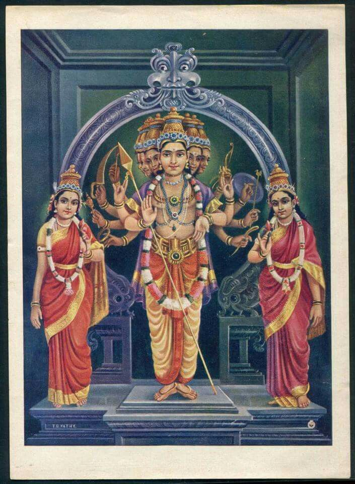 Kumara with Devsena and Valli