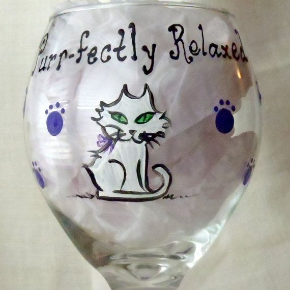 Cat Wine Glass Gift by PaintsyKate on Etsy, $17.00