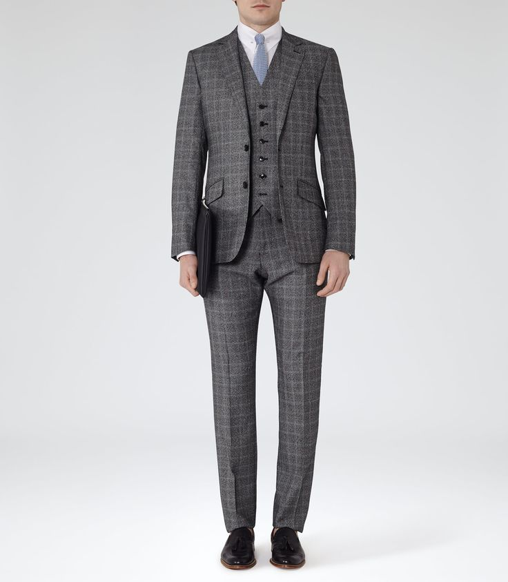 Mens Grey Check Modern Suit - Reiss Smithers