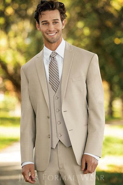 Groomsmen In Tan Suits Or Vests With Zack In Blue