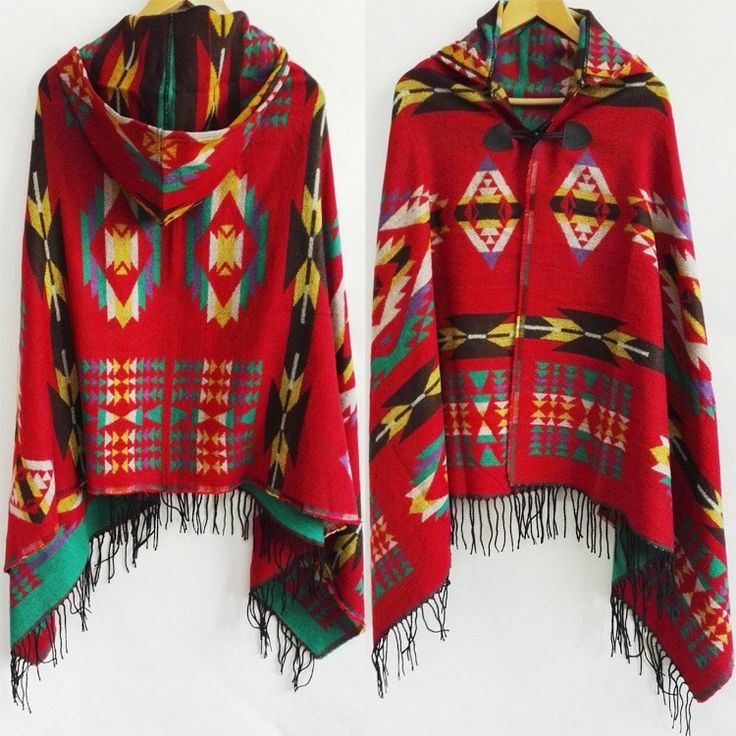 Women's Tribal Fashion Print Large Warm Cashmere Boho-Style Hooded Fringe Accent Poncho Scarf 16 Colors/Designs