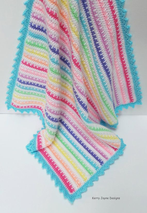 CROCHET PATTERN - A great pattern for the beginner! The Ice cream Crochet baby blanket pattern (instructions and tutorial) A truly stunning little blanket that is easy and quick to make! Unique crochet blanket pattern By KerryJayneDesigns Level - Easy. A knowledge of basic crochet stitches needed Sc, Dc, Hdc, Slip stitch, chain. Most USA Light worsted /UK DK yarns may be used - Size 4mm crochet hook. USA English terms (For UK English crochet terms please click on listing below) https://w...