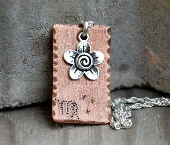 engraved pendant dog tag pendant 'virgo' zodiac by CopperFinger