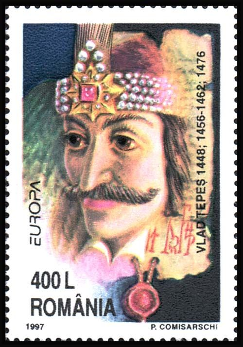 Romanian postage stamp: Vlad III Prince of Walachia (Dracula - Son of the Dragon)