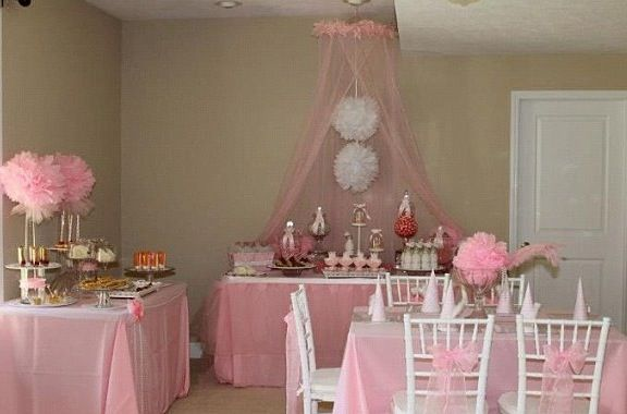 Princess themed birthday party party princess ballerina for Ballerina party decoration ideas