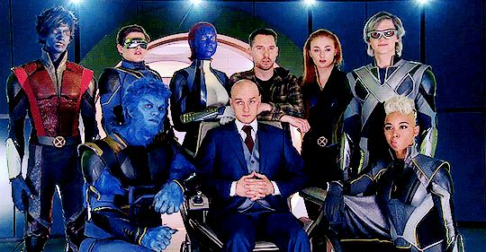 X-men : Apocalypse cast picture! Best superhero group ever; not just in the movies but in the comics as well!!  OMG the only ones who aren't moving at all are Mystique and Beast; Joult is synchronized. That's a signal!!! They're coming back!