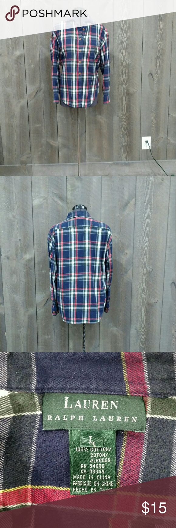 Ladies flannel shirt Warm and comfortable flannel shirt. Great as a over shirt or tied around your waist. Navy plaid, button up front. Ralph Lauren Tops Button Down Shirts