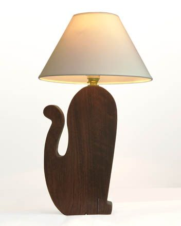 Cat Lamp walnut stained cherry
