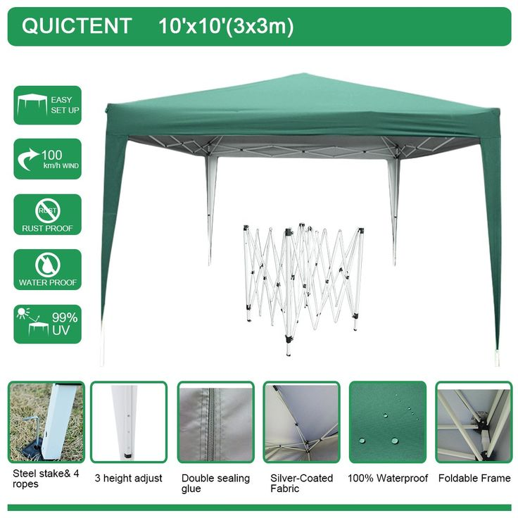 Quictent Easy Pop Up Canopy 10x10 Feet Party Tent Beach Gazebo Heavy duty Green adjustable waterproof. The Quictent straight leg shelter is the perfect pop up tent for the beach, backyard or even flea market stall. Durable steel frame, with straight foot legs.3 height adjust point. All the foot legs are covered with fabic.All seams taped with top sealant for waterproof. 1 year manufacture defective warranty! Replacement parts provided. Quictent Pop Up Gazebos - Portable, Waterproof and...