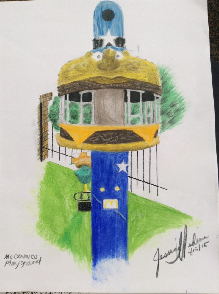 Remember this guy? This is the Mc Donald's playground. I used prisma colored pencil on regular sketch paper.