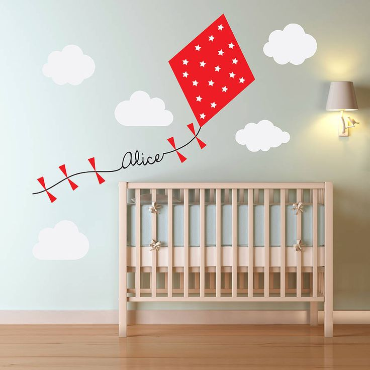 personalised kite and clouds wall sticker by oakdene designs notonthehighstreetcom - Baby Wall Designs