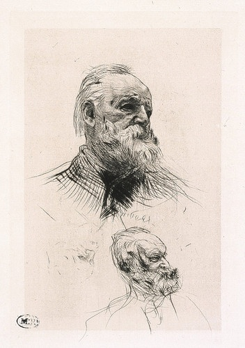auguste rodin victor hugo three quarter view 1884 dry point engraving h 15 cm engraved part