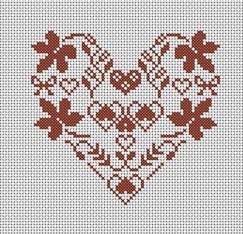 grilles point de croix: Grilles gratuites coeurs: Stitches Heart, Broderie Alsac, Diagramm Broderie, Grilled Points, Points De, Gratuit Coeur, Crosses Stitches, Grilles Points, Cross