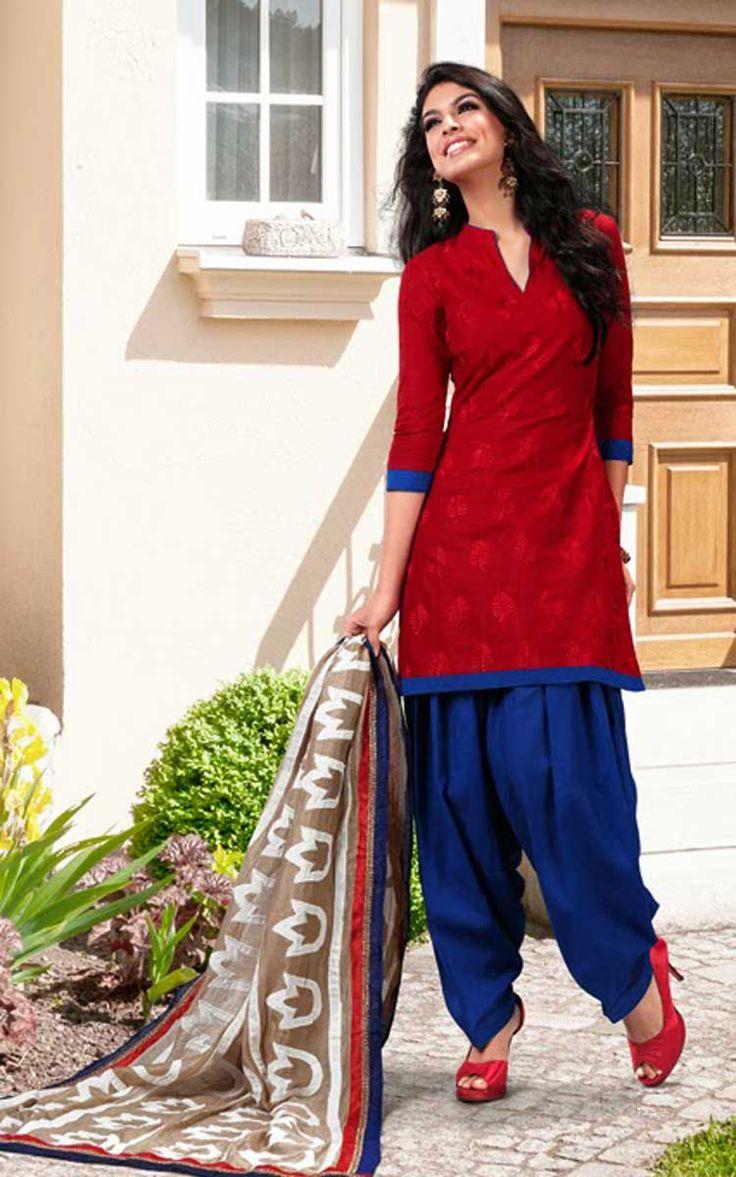 Red & Blue Cotton Salwar Kameez