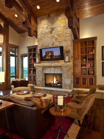 Classic Living Room Design: Love The TV Above The Fireplace...one Focal Point In The