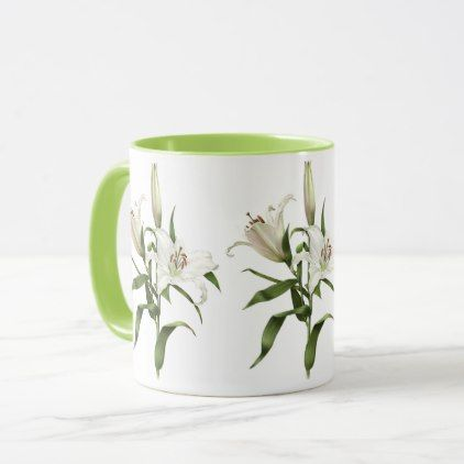 White Lily Mug - home gifts ideas decor special unique custom individual customized individualized