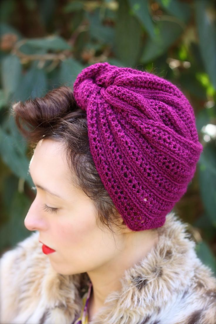 Theodora Goes Wild: Free Pattern Friday - Herringbone Lace Turban - an original design by www.theodoragoeswild.com for a 1940s inspired turban using DK weight yarn in a stretchy lace stitch. Free!