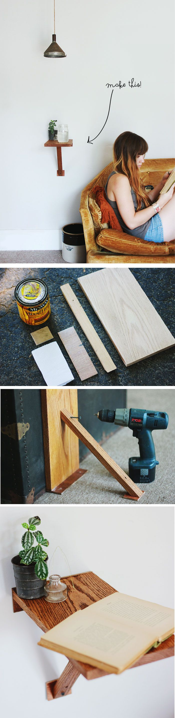 DIY Wall Mount Side Table #DIY #crafts