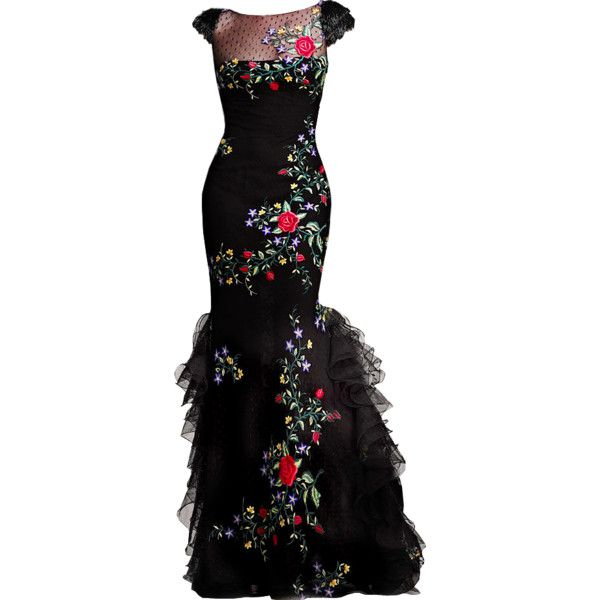 Tony Ward - edited by Satinee ❤ liked on Polyvore featuring dresses, gowns, long dresses, vestidos, black evening gowns, kohl dresses, black gown and long black dress