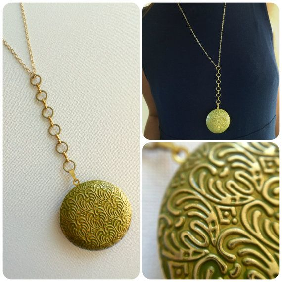 Large Locket Photo locket Gold Locket Green by PERCIVALandHUDSON