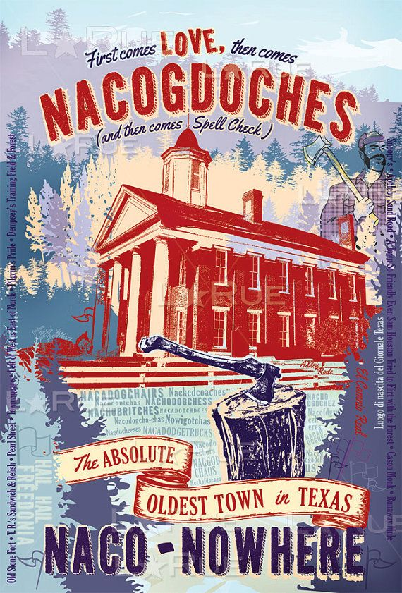 Print of: Love Nacogdoches Texas Vintage Art Poster  - Lance LaRue - www.LaRueArtandCopy.com