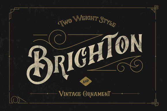 Brighton Typeface & Ornaments by Ramandhani on @creativemarket