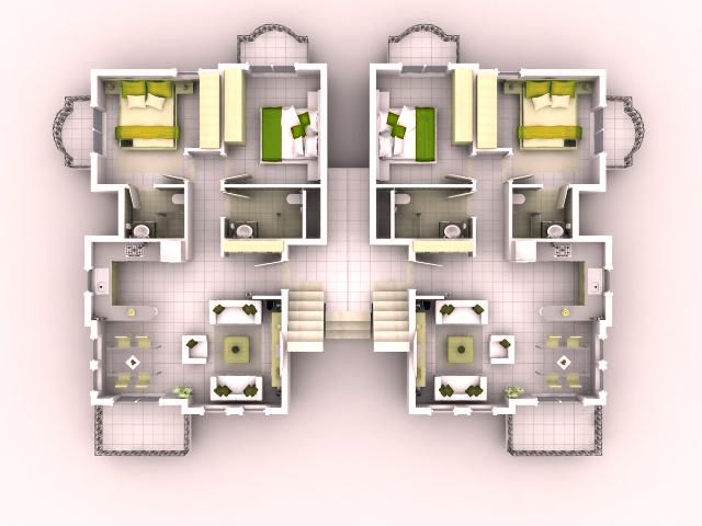 Good 3d House Blueprints And Plans With 3d House Plan 3D Floor Plans Pint