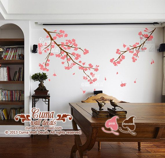 flor de cerezo rosa pared calcomanías vinilo pared floral pegatinas rama vivero pared calcomanías niños-chica vivero Cerezo flor Z119 de cuma etiquetas de