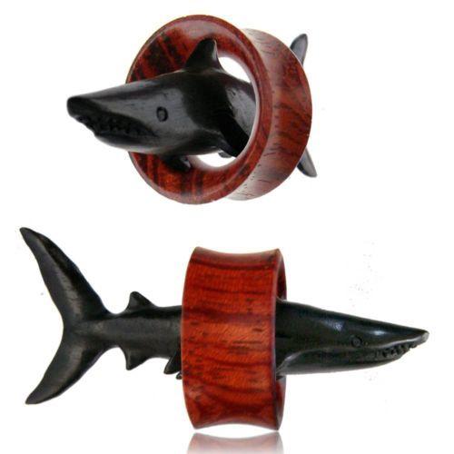 Pair WOOD Hand Carved Black SHARK GAUGES Eyelets Tunnels Plugs EAR Wooden Sea - Palina Design