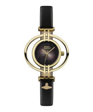 Oval gold-tone & black leather watch Sale - Vivienne Westwood Sale