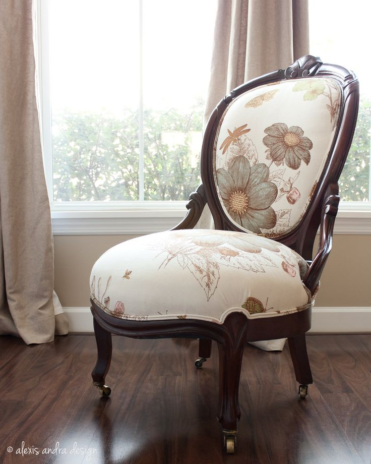 Hand Carved Antique Victorian Chair Classic Upholstered