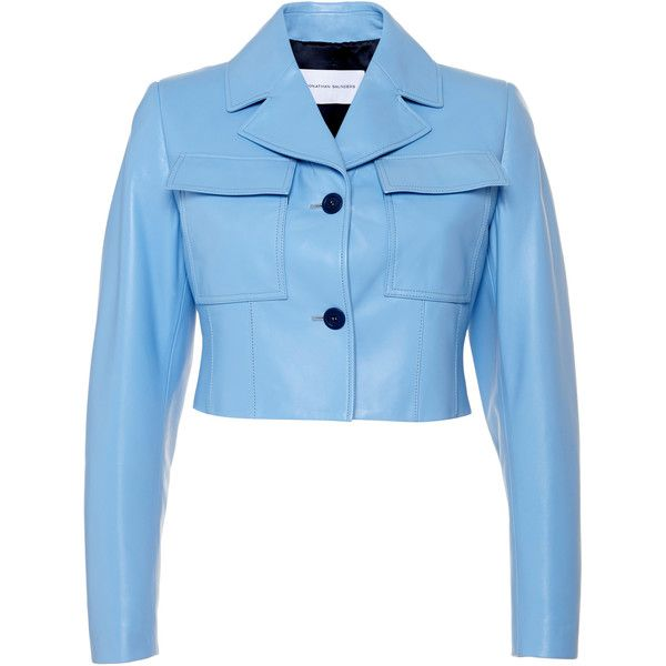 Jonathan Saunders Sky Blue Iris Jacket (113,375 DOP) ❤ liked on Polyvore featuring outerwear, jackets, leather jacket, blue leather jacket, flap jacket, blue jackets and cropped leather jacket