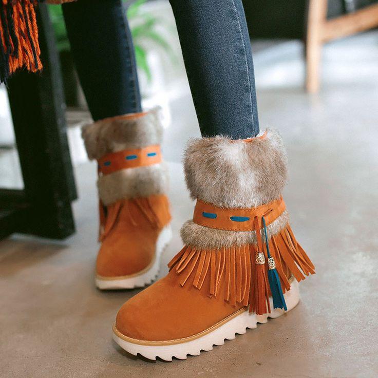 Nueva Moda Tobillo de Las Mujeres Patea Los Zapatos planos Del Talón Negro de Cuentas felpa Suede Nubuck borla de la Mujer Botas de invierno botas de nieve caliente AA554