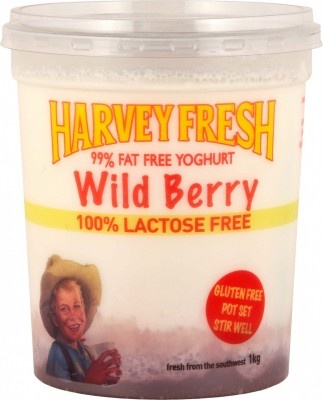 Harvey Fresh Lactose Free, Gluten Free 99% Fat Free Yoghurt Wild Berrty 1kg  www.harveyfresh.com.au
