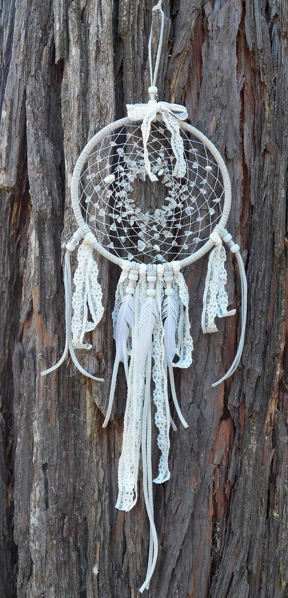 Beautiful Wedding Style White Dream Catcher with Quartz Crystal, Mother of Pearl, Crow Beads, Fancy Lace and Duck Cochette Feathers via Etsy