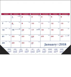 Product: 1D532 2018 Desk Pad Calendar, Patriotic Vinyl Corner Basic custom imprint setup & PDF proof included! Desk pads keep a customer's name in front of potential clients on a daily basis. Date grid includes Julian dates making it perfect for financial, construction & manufacturing markets. Vinyl corners provide an attractive frame and durability at no extra charge. Norwood Publishing / 6502-VC