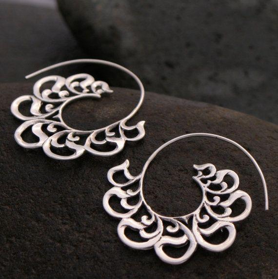 Silver hoop earrings  Solid Sterling Silver Beloved by Zephyr9, $38.00