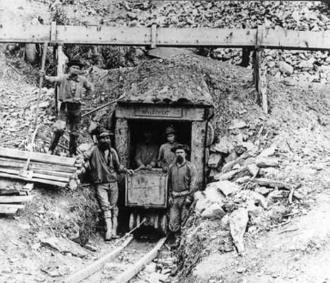 Miners at the Neversweat Mine at Williams Creek in the Cariboo, BC