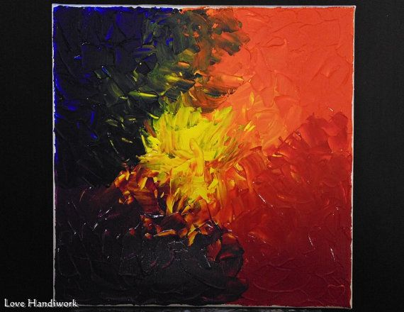 Multi-Colour Blend Abstract Square Painting 12x12 by LoveHandyWork