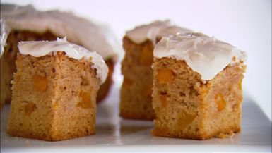 Giada's sweet peach cake. This sounds delicious, and easy to make.