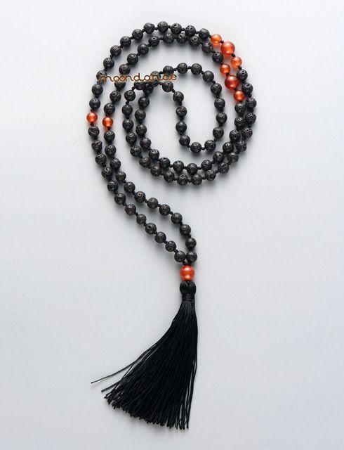 Lave naturelles pierres avec Agate rouge Long Tessel collier 108 perles Mala collier vacances collier de Yoga pour femmes Drop Shipping
