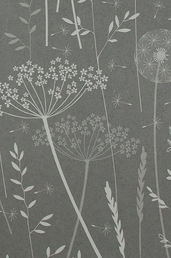 Paper Meadow Wallpaper  Charcoal SAMPLE by Hannahnunn on Etsy, $1.56