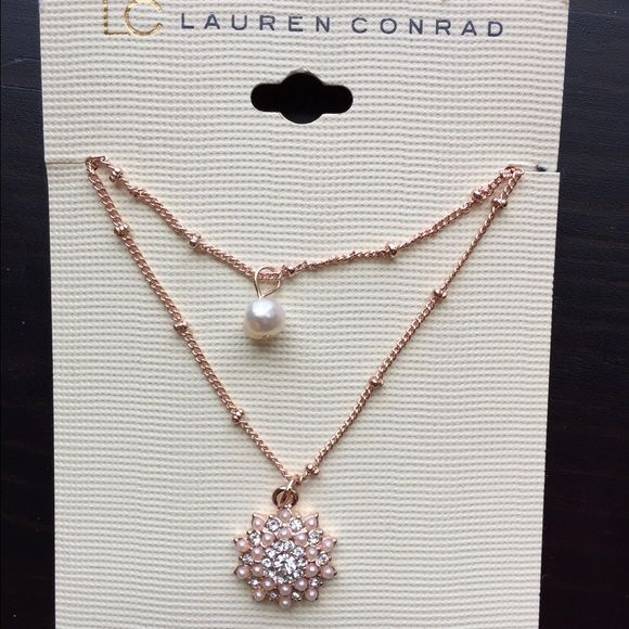 NWT Lauren Conrad rose gold pearl double necklace New, never worn rose gold pearl medallion double necklace. No damages or defects, just not my style! Lauren Conrad Jewelry Necklaces