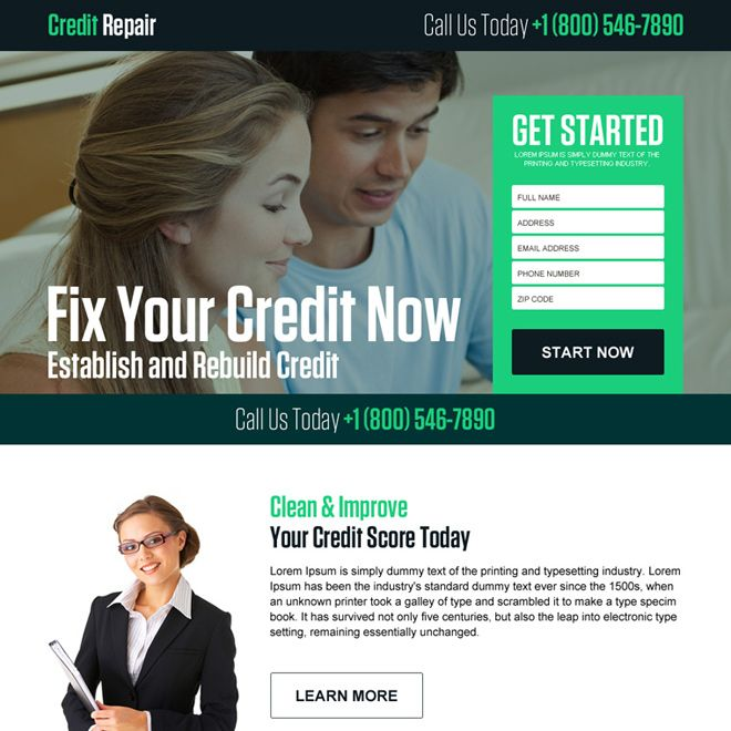fix your credit now lead generating landing page design