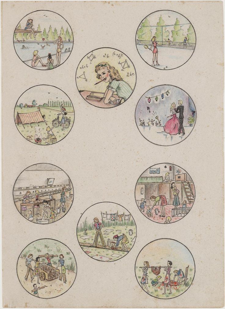 Daily activities before and during the internment by Joke Broekema, 1942-1945. Museon, CC BY