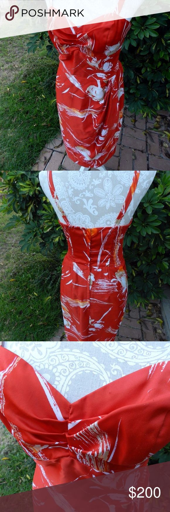 "VTG Paradise Hawaii Red Sexy Sarong Pinup Dress 10 Authentic vintage 60s hawaiian print wrap dress by Paradise Hawaii.  Spaghetti strap style Boning to structure the Bustier style bodice top. Detachable straps for cross back or halter Cinched sweetheart neckline Wrap skirt Made in Honolulu Sateen poly blend fabric  Dress is in excellent vintage condition. SUPER RARE. please see photo for small snags  Marked Vintage Size 10  Flat Measurements Bust 16"" Waist 12.5"" Hips 19"" Top of Bust to…"