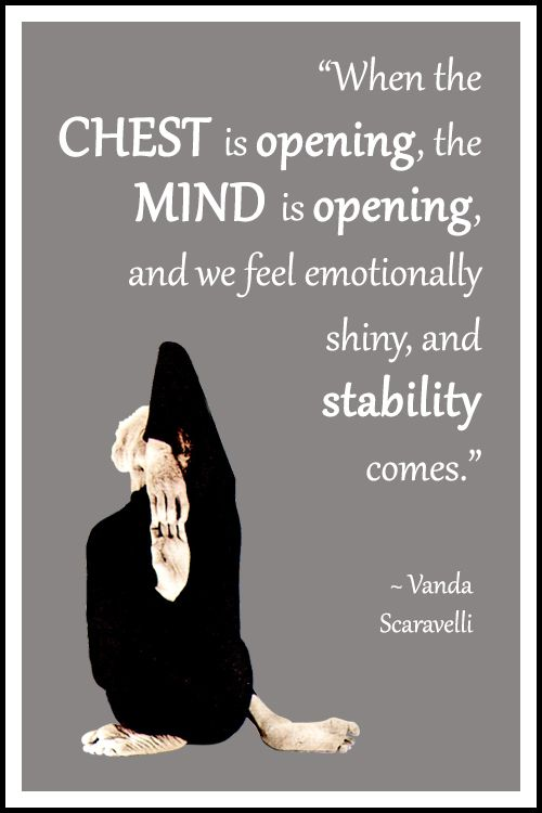 "Yoga quote by Vanda Scaravelli: ""When the chest is opening, the mind is opening, and we feel emotionally shiny, and stability comes."" .... #VandaScaravelli #YogaQuote #Inspirational #LifeQuote #YogaWorld #YogaBenefits #scaravelliyoga #scaravelliinspiredyoga"