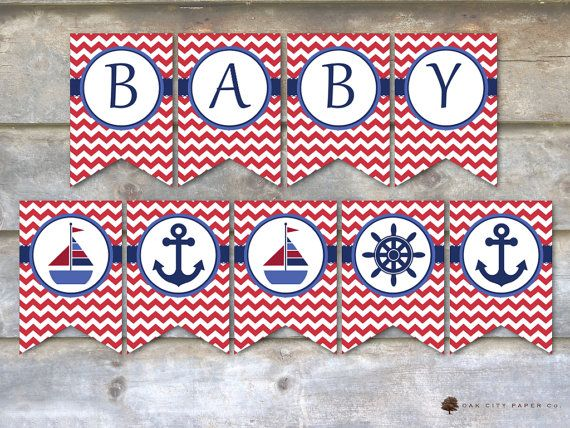 Nautical Baby Shower Decorations Nautical by OakCityPaperCompany