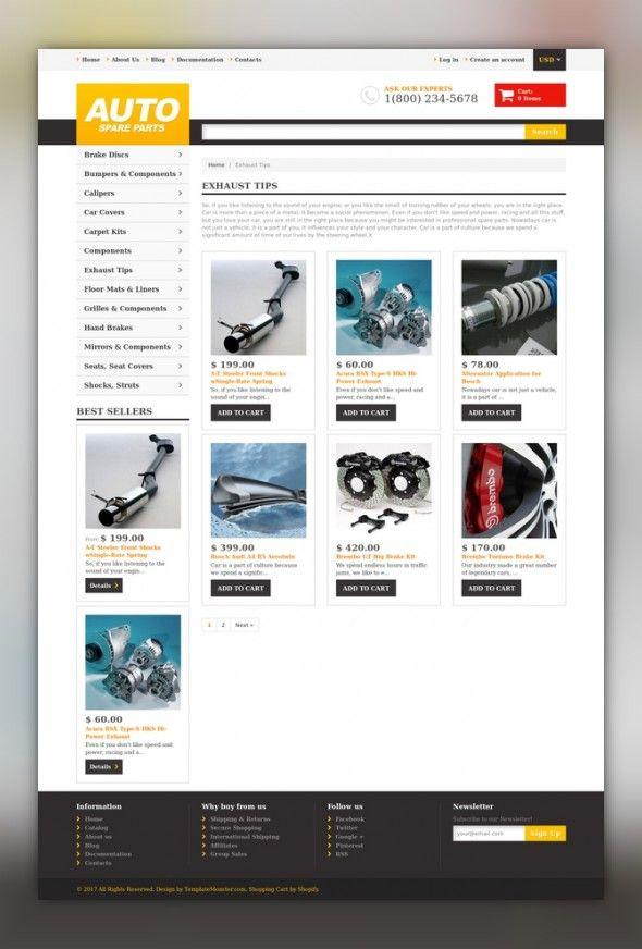 Auto Parts Responsive Shopify Theme E-commerce Templates, Shopify Themes, Cars & Motorcycles, Car Templates, Auto Parts Templates